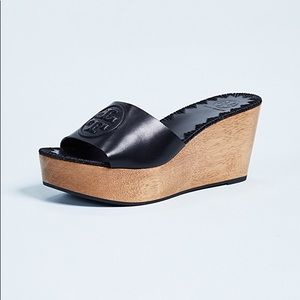 New in box black leather Tory Burch wedge slides